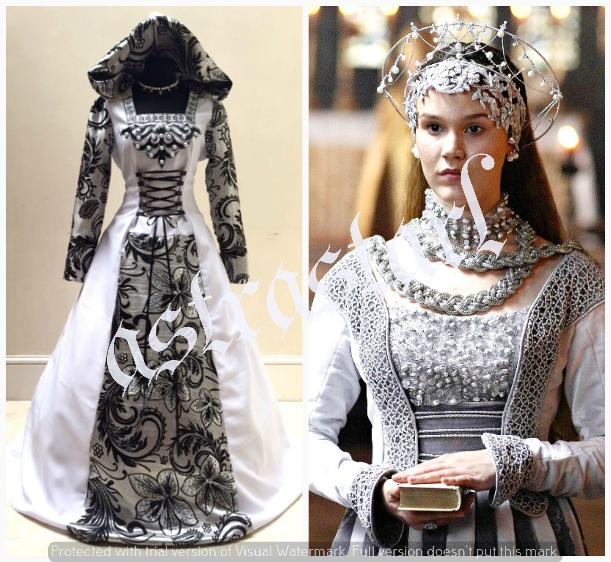 Mittelalterliche Hochzeitskleid S-M 12.10.14 Silber gothic