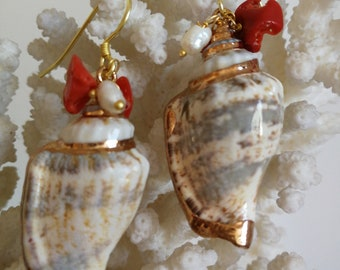 Shell earrings, coral and pearl earrings, summer earrings