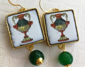 Silver earrings with Caltagirone ceramics and green agate stones, Sicilian earrings