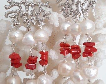 Barroco blanco perla pendientes, coral rojo Mediterráneo y latón