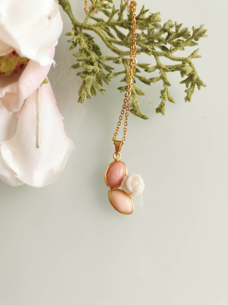 Italian jewelry Silver necklace 925 with pink pendant and natural pink coral