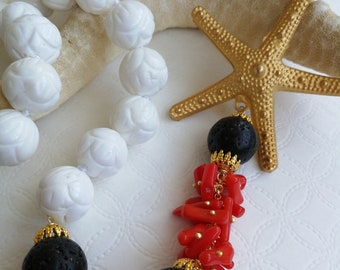 White onyx and red coral gemstone necklace, starfish necklace