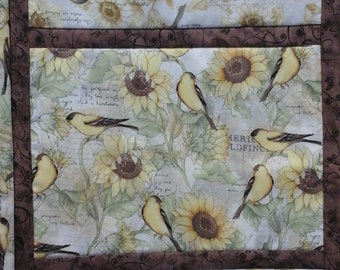 Spring Table Runner, Bird Table Runner, Sunflower Table Runner, Table Decor,