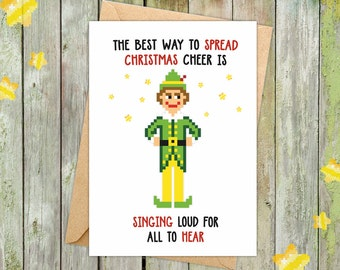 Funny holiday cards etsy funny christmas cards christmas pun funny christmas card will ferrell buddy the m4hsunfo