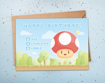 Gamer Birthday Card Geeky Nerdy Level Up 1 UP Gift For Husband Boyfriend Him