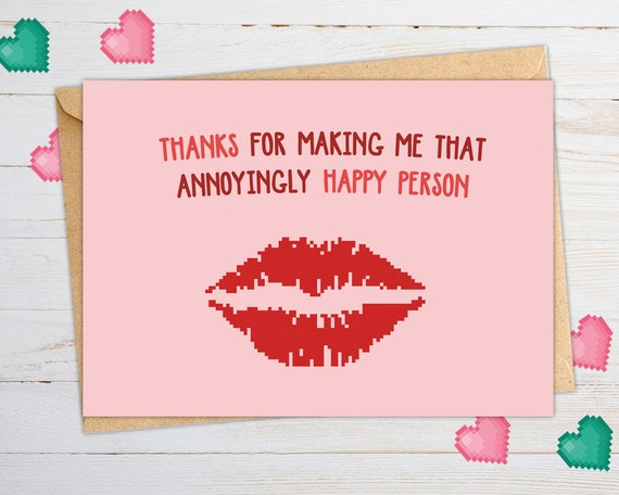 Cute Valentines Card Kiss Love Letter Valentines Day Card Etsy