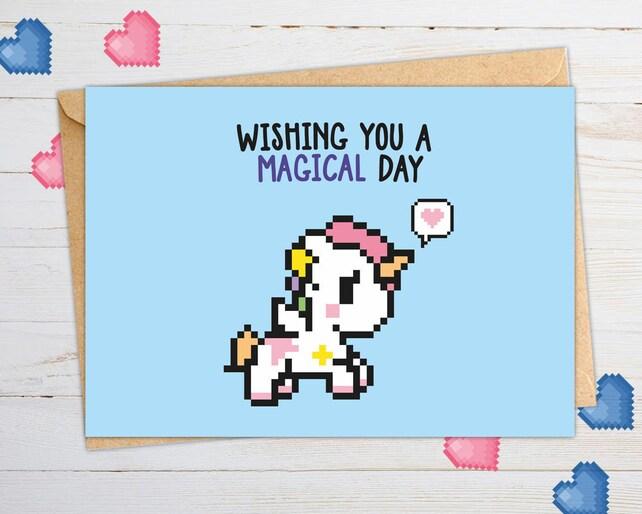 Valentine's love, Unicorn, Geeky Birthday Cards, Funny Love Cards, Geeky Love Cards, Miss You Cards, Thank you Cards, Friendship Cards