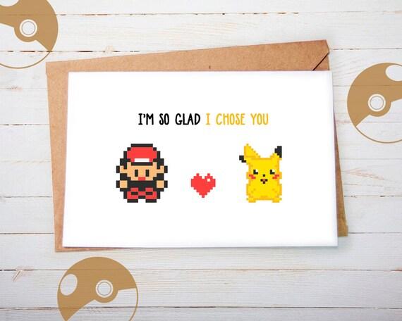 Valentines Day Card Pokemon Valentine Card Valentine Card Etsy