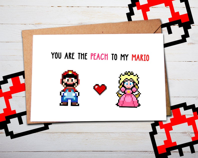Super Mario Birthday Card Mario Valentines Valentine Card Mario Gifts Anniversary Card Card for Him for Husband Card for Boyfriend