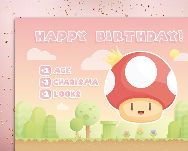 Funny Birthday Card Gamer Geeky Nerdy Happy Level Up 1 UP For Wife Girlfriend Her