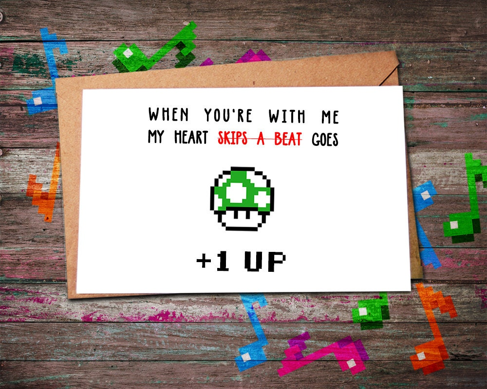 Valentine Card Gamer 1UP Level Up