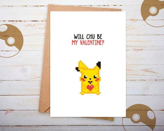 Valentine Valentine Card Pikachu Valentines Card Etsy