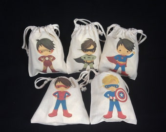 Boy Hero Party/Favor/Loot/Goody Bags Set of 5 bags/Drawstring Bags/Cotton Bags