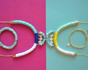 Yellow Lotus Statement Necklace, Turquoise Bead Statement Necklace, Statement Necklace, Pendant Necklace