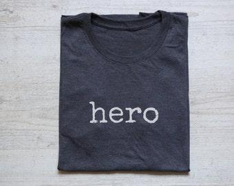 f4eab2ffb64 Hero tee t-shirt shirt adult unisex vintage quote hero tee heather dark gray