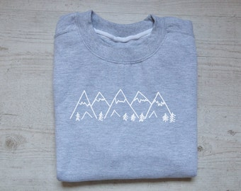 Mountains sweater slouchy sweatshirt soft vintage womens mens sweatshirt graphic design drawing tee hiking sweater heather light gray