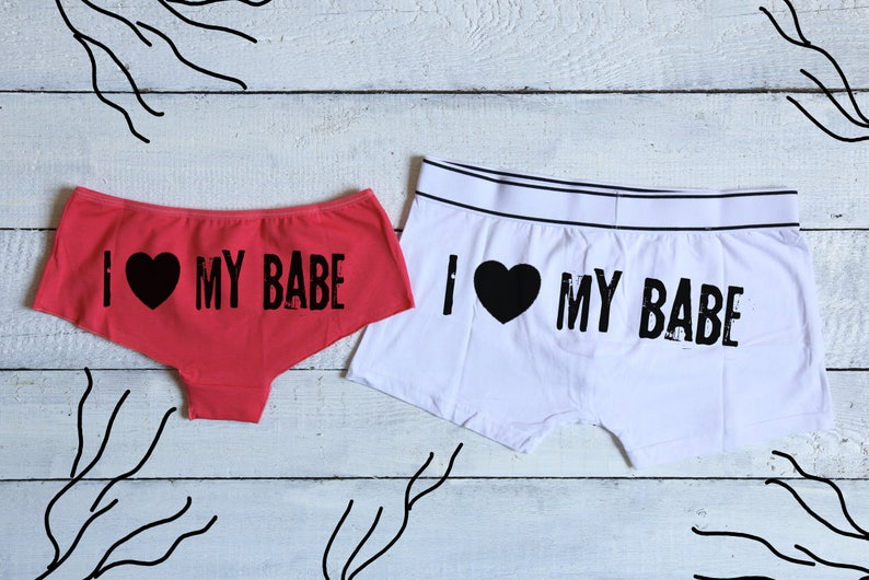 237275a334 I love my babe His and Hers Set Couples Underwear Set Funny
