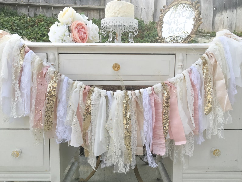 Pink Gold Birthday Decorations Cream Lace Banner