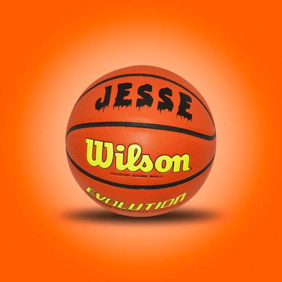 Customized Personalized Wilson Evolution Indoor NCAA Official Size 29.5 Basketball in Yellow