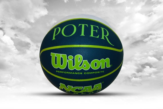 Customized Personalized Wilson NCAA Legends Navy/White/Lime Green Indoor/Outdoor Basketball