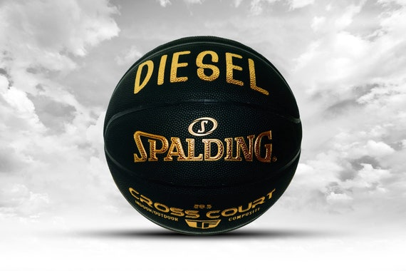 Customized Personalized Basketball Spalding Indoor/Outdoor Black/Gold Gift