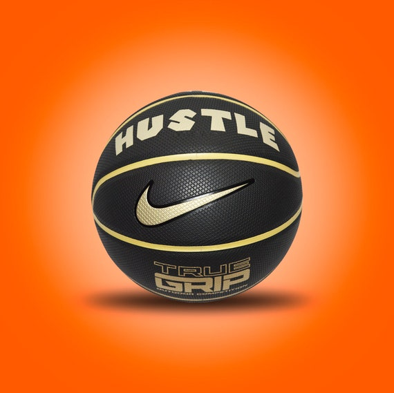 Customized Personalized Basketball Nike Black/Gold Outdoor Official Size Gift