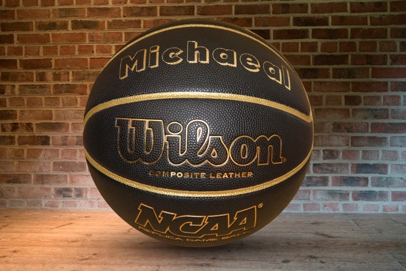 Customized Personalized Basketball Wilson NCAA Replica Indoor/Outdoor black/gold Official Size 29.5 Gift