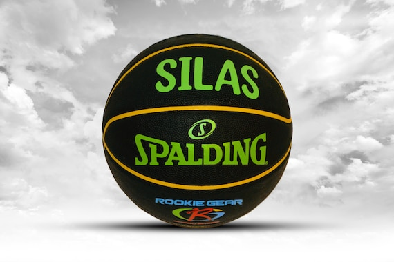 Customized Personalized Basketball black Spalding Rookie Gear Youth Indoor/Outdoor 27.5 Size Gift
