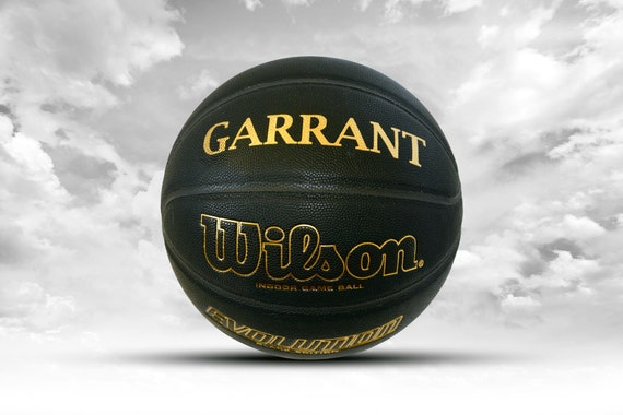 Customized Personalized Wilson Evolution Indoor NCAA Official Size 29.5 Basketball Black and Gold