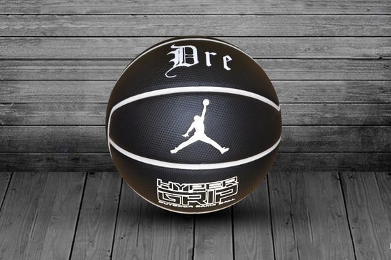 Customized Personalized Basketball Jordan Hyper Grip Indoor/Outdoor Official Size 29.5 Gift Black/White