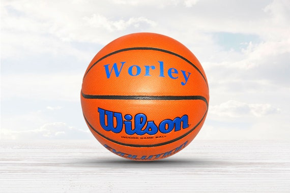 Customized Personalized Wilson Evolution Indoor NCAA Official Size 29.5 Basketball in Royal Blue