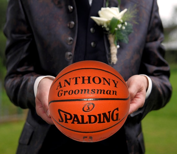 Customized Personalize Spalding Wedding Best Man Groomsman Gift Official Size Basketball 29.5