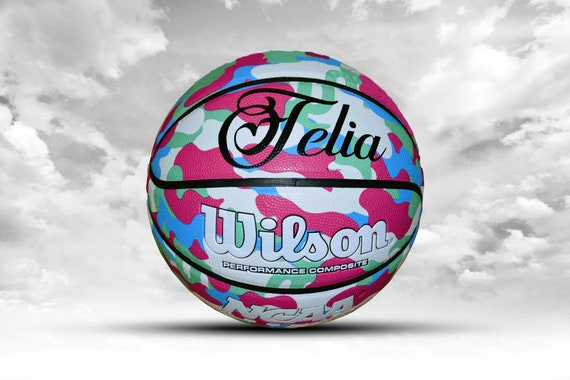Customized Personalized Wilson NCAA Legends Pink Camo Indoor/Outdoor Basketball Size 27.5