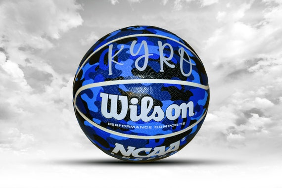 Customized Personalized Wilson NCAA Legends Blue Camo Indoor/Outdoor Basketball Size 29.5