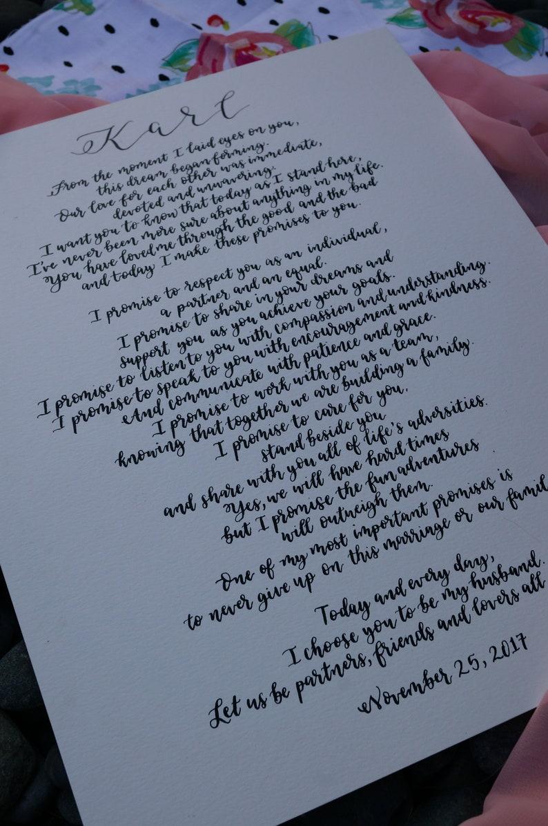 Modern Calligraphy Wedding Vows