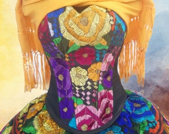 a060a43750 Corset Dress Chiapas Style. Mexican Dress. Original Hand Embroidered.  Vestido Mexicano Bordado.