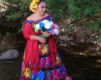 ae501b296 Offshoulder Chiapas Style. Mexican Dress. Floral Enbroidery. Original Hand  Embroidered Cultural Outfit. Vestido Mexicano.