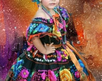 Chiapas Style Dress Custom Made Original Hand Embroidered