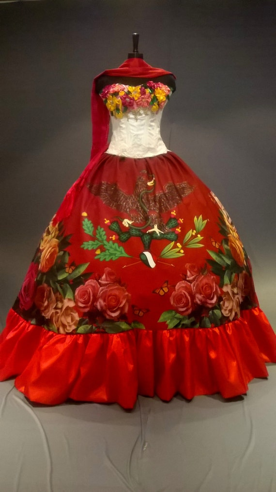 Mexican Quinceaera Dress Frida Kahlo Inspired Quince Gown Etsy