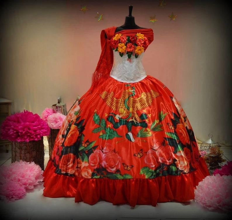 b7e9b3c0316 Mexican Quinceañera Dress. Custom Made. Frida Kahlo Inspired