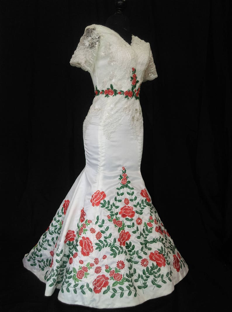Mexican Wedding Dress.Mexican Wedding Dress Vestido Mexicano Bordado Floral V Neck Special Occasion Dress Made To Order