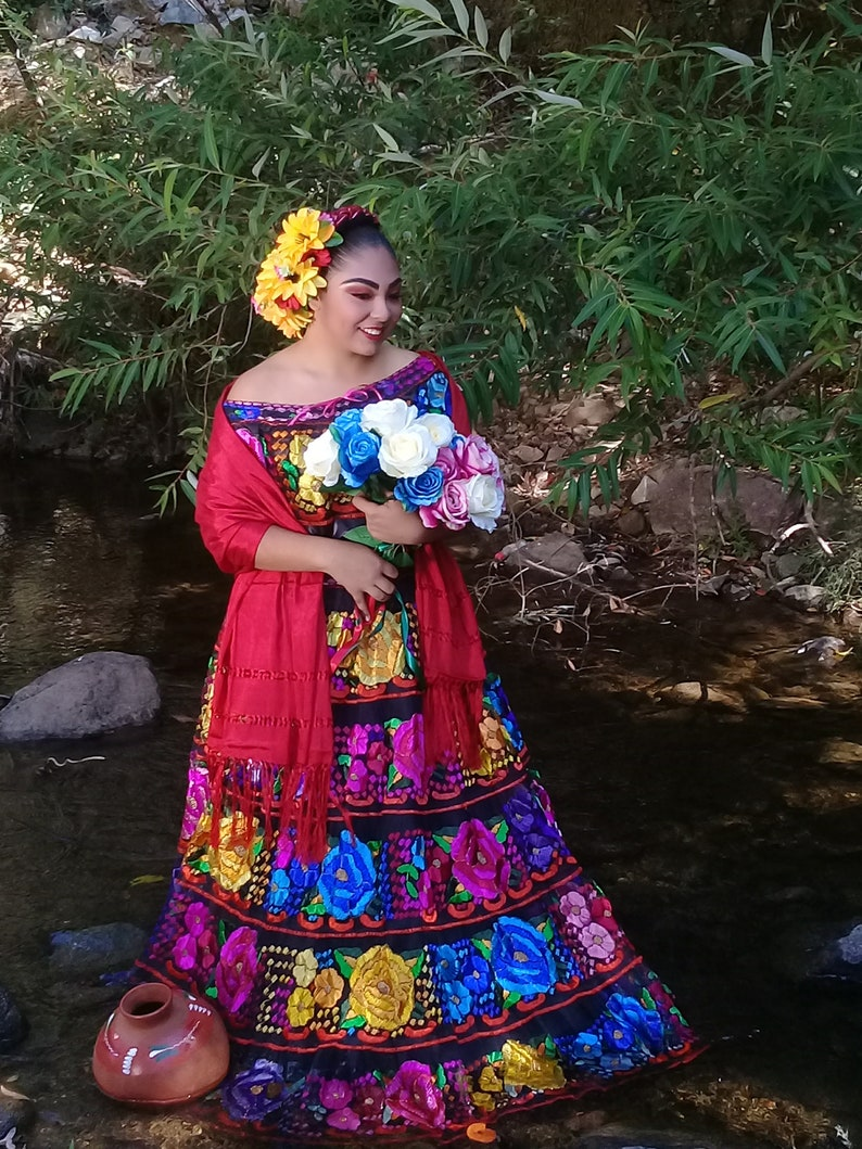 1bf99788c Offshoulder Chiapas Style. Mexican Dress. Floral Enbroidery. | Etsy