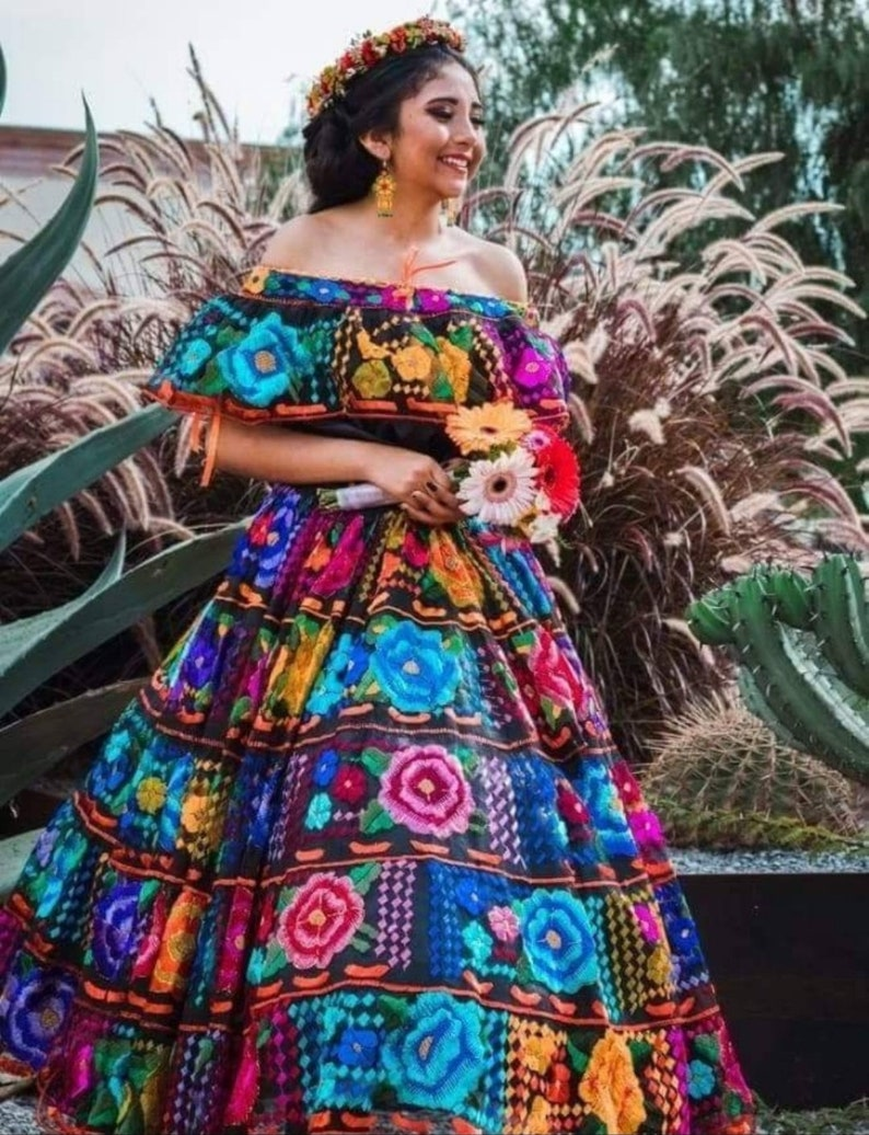 a6b19cc8e1 Mexican Dress. Chiapas Style. Original Hand Embroidered