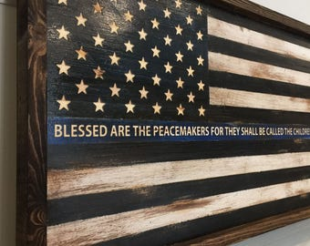 Engraved United States Flag Sign Police Officer Blue Line - Medium 26x14, Hand painted, Rustic Wood Sign, Custom Distressed Sign