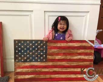 "Engraved United States Flag Sign- Large 36x19"", Hand painted, Rustic Wood Sign, Custom Distressed Sign, Home Wall Decor"
