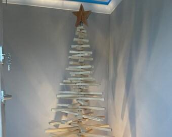185 cm post-aged Christmas tree handmade of wood