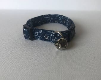 Blue Bandana Cat Collar