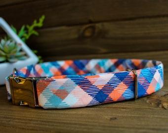 Blue Spring dog collar - Striped dog collar, Orange dog collar
