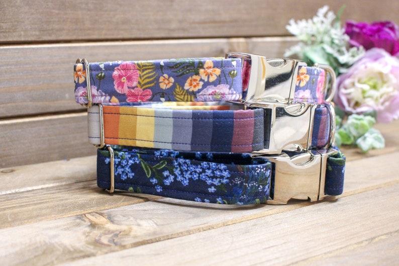 dog collar Blue dog collar Floral dog collar Blue Floral collar big dog collar 1.5 inches 34 inch