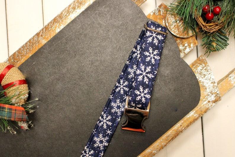 34 inch 1.5 inches Holiday collar Xmas collar Christmas dog collar Blue dog collar Snow dog collar